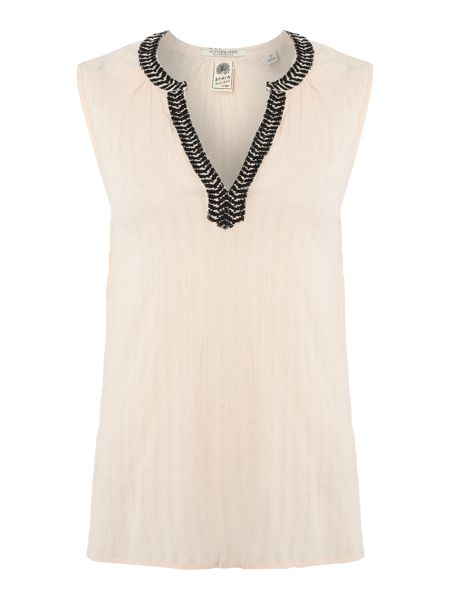 Maison Scotch Embroidered neckline sleeveless top