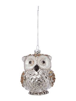 Silver & black glass owl decoration