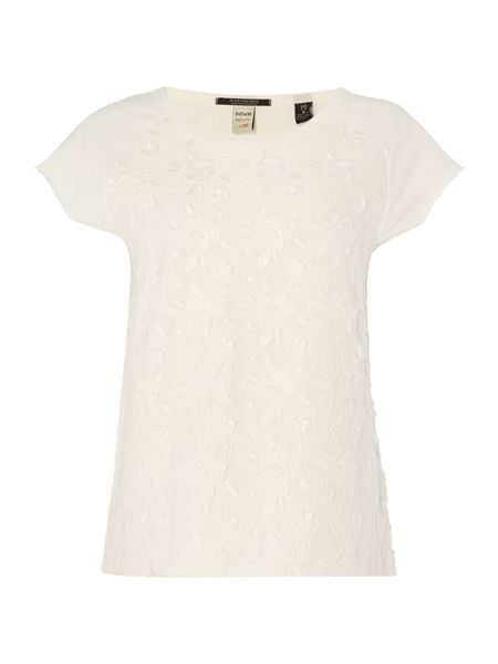 Maison Scotch Short sleeve floral sweatshirt