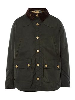 Boys Winter Reelin waxed jacket with cord collar