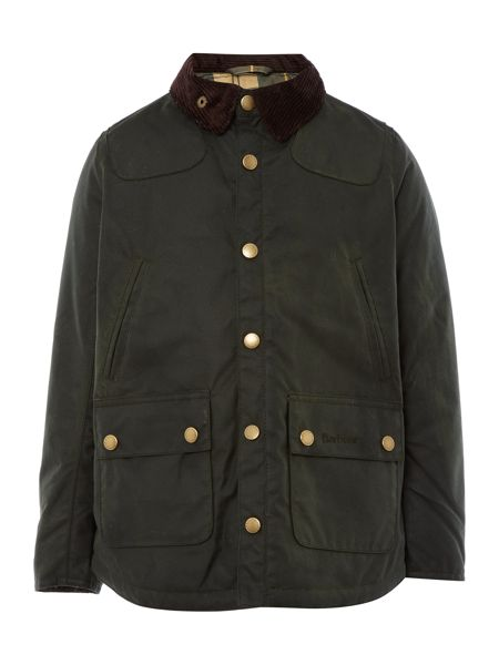 Barbour Boys Winter Reelin waxed jacket with cord collar