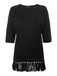 Maison Scotch Fringed knitted top