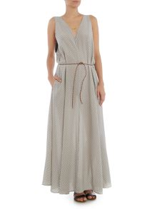 Maison Scotch Printed maxi dress with tie waist