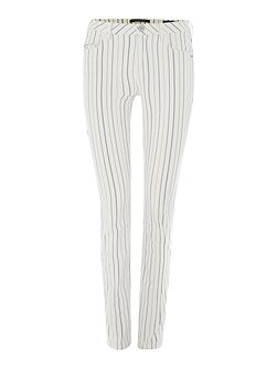 Striped mid rise skinny fit trousers