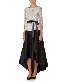 Eliza J 3/4 sleeve lace top with tie belt