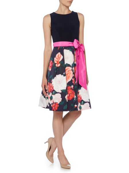 Eliza J Sleeveless fit and flare with tie belt