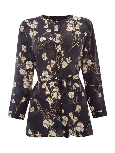 Marella Padre long sleeve floral silk blouse