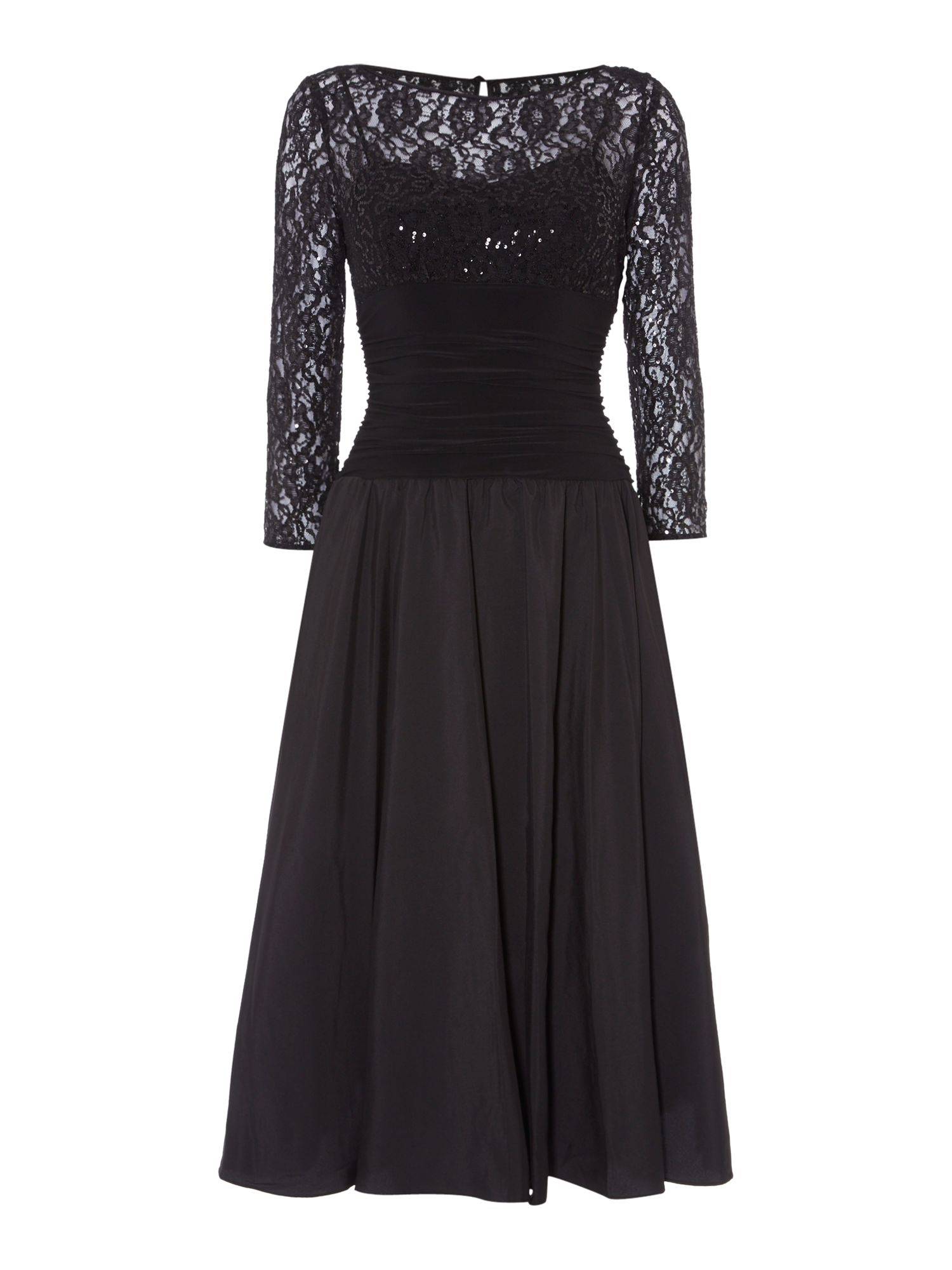 Eliza J Sweetheart flared dress with lace sleeves, Black