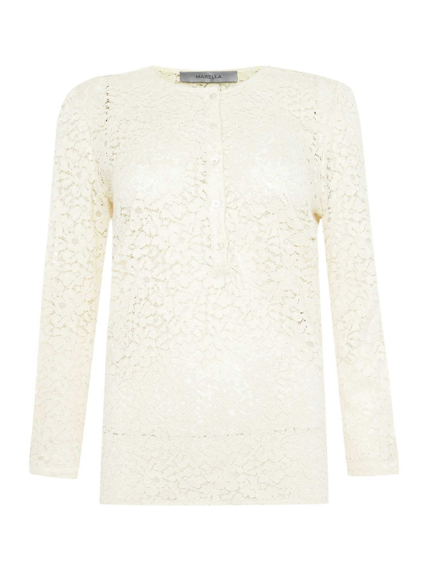 Marella Gettata long sleeve lace button up blouse, White