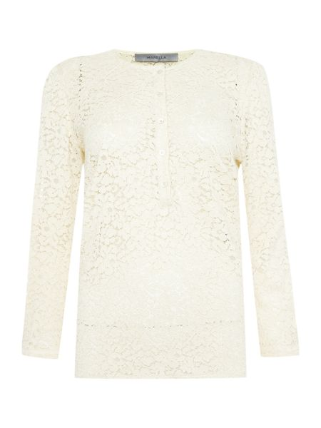 Marella Gettata long sleeve lace button up blouse