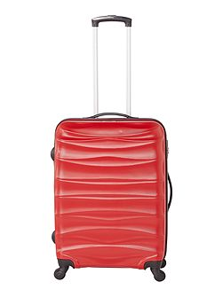 Wave red 4 wheel hard medium suitcase
