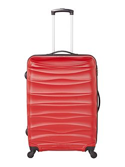 Wave red 4 wheel hard large suitcase