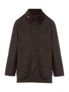 Barbour Boys Classic Beaufort Cord Collar Wax Jacket