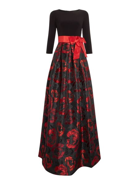 Eliza J Long sleeve ballgown with jersey top
