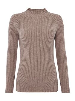 Elske essential rib fashioned funnel neck jumper