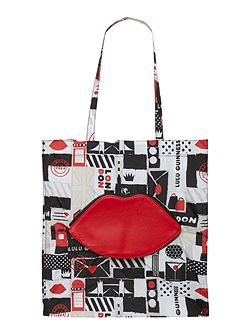 Multi-coloured foldaway london tote bag