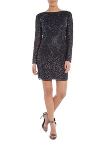 Lace and Beads Long Sleeved Round Neck Embellished Dress