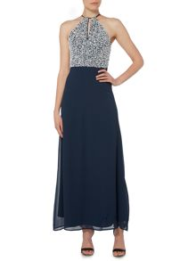 Lace and Beads Halterneck Keyhole Maxi Dress