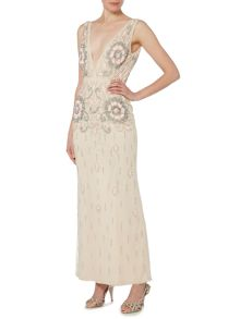 Lace and Beads Sleeveless V Neck Fitted Maxi Dress