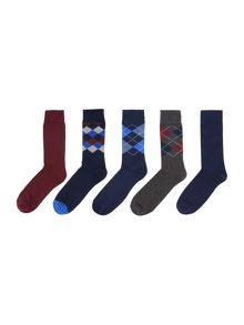Howick 5 Pack Argyle Sock