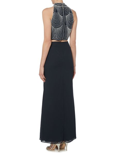Lace and Beads Sleeveless High Neck Crop Top