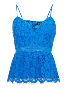 Bardot Sleeveless Lace Peplum Top