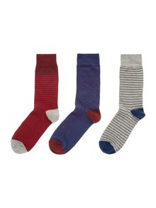Linea 3 Pack Red Stripe Sock