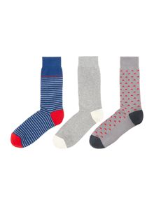 Linea 3 Pack Triangle Print Sock