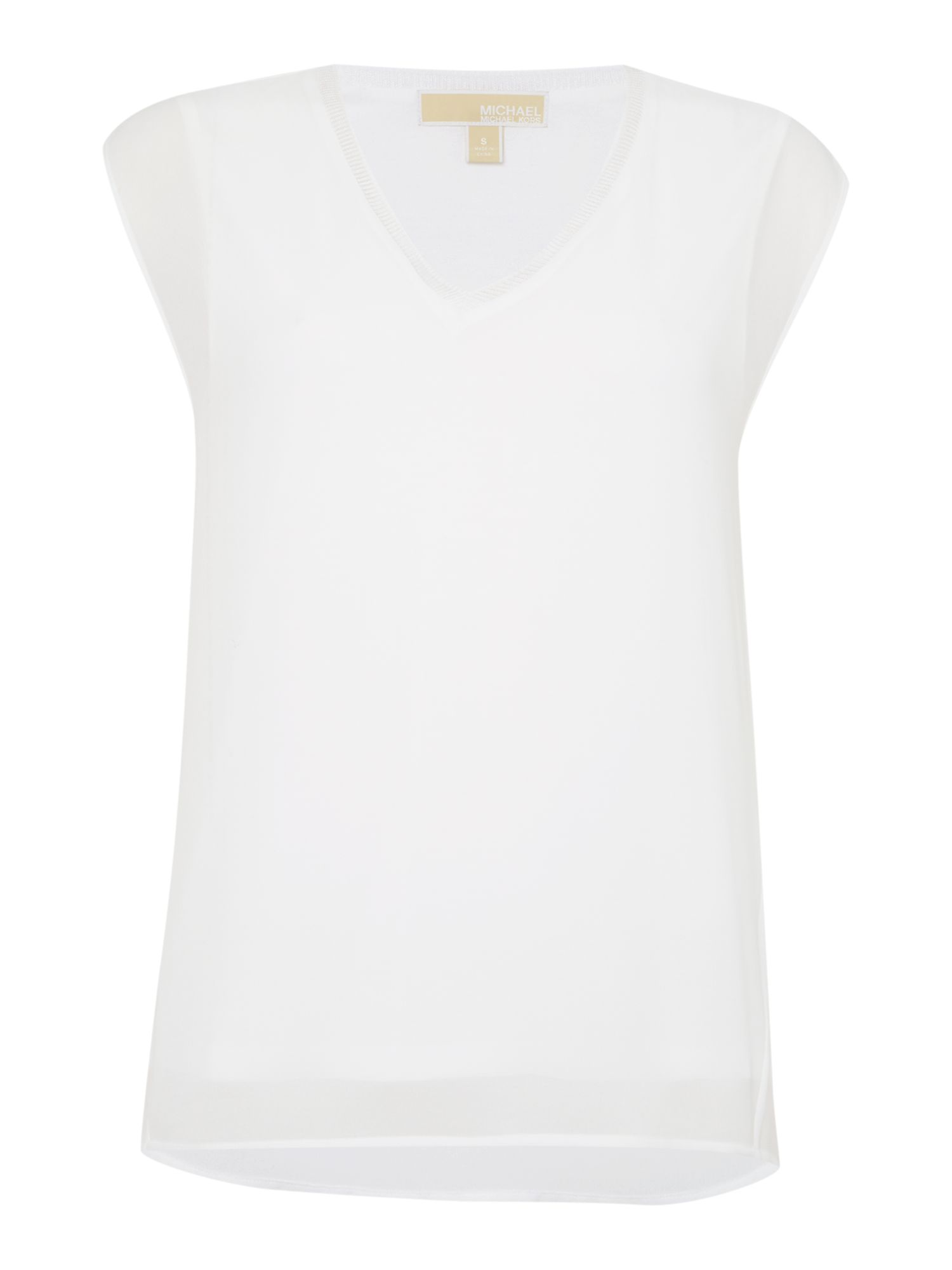 Michael Kors V Neck Rib Tank Top, White