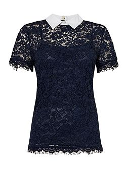 Short Sleeved Collared Lace Top