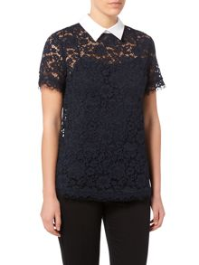 Michael Kors Short Sleeved Collared Lace Top