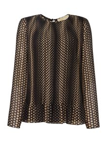 Michael Kors Long Sleeve Pleated Top