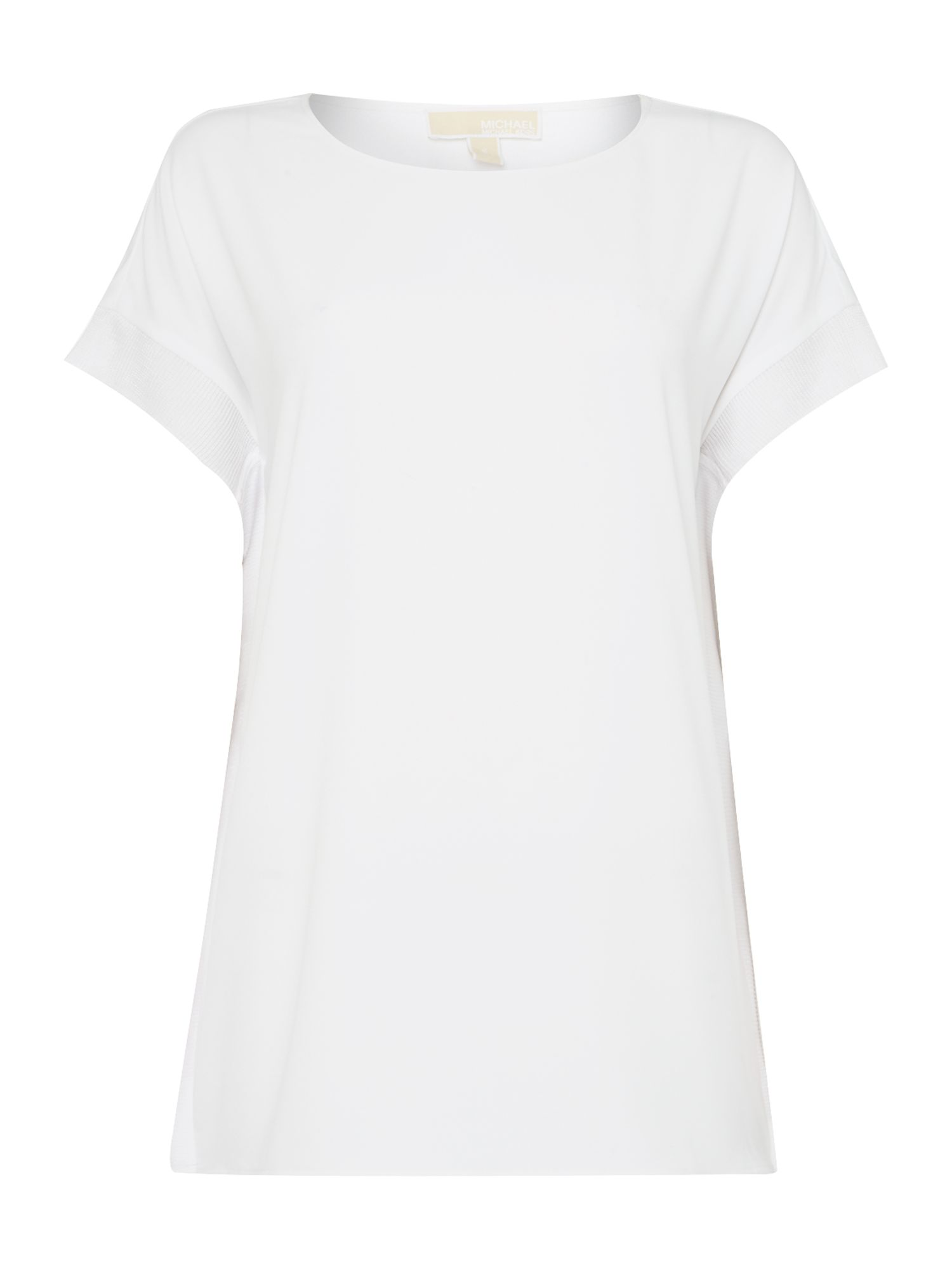 Michael Kors Short Sleeve Scoop Neck Rib Top, White