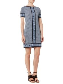 Michael Kors Short Sleeve Border Shift Dress