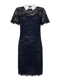 Short Sleeved Collared Lace Dress