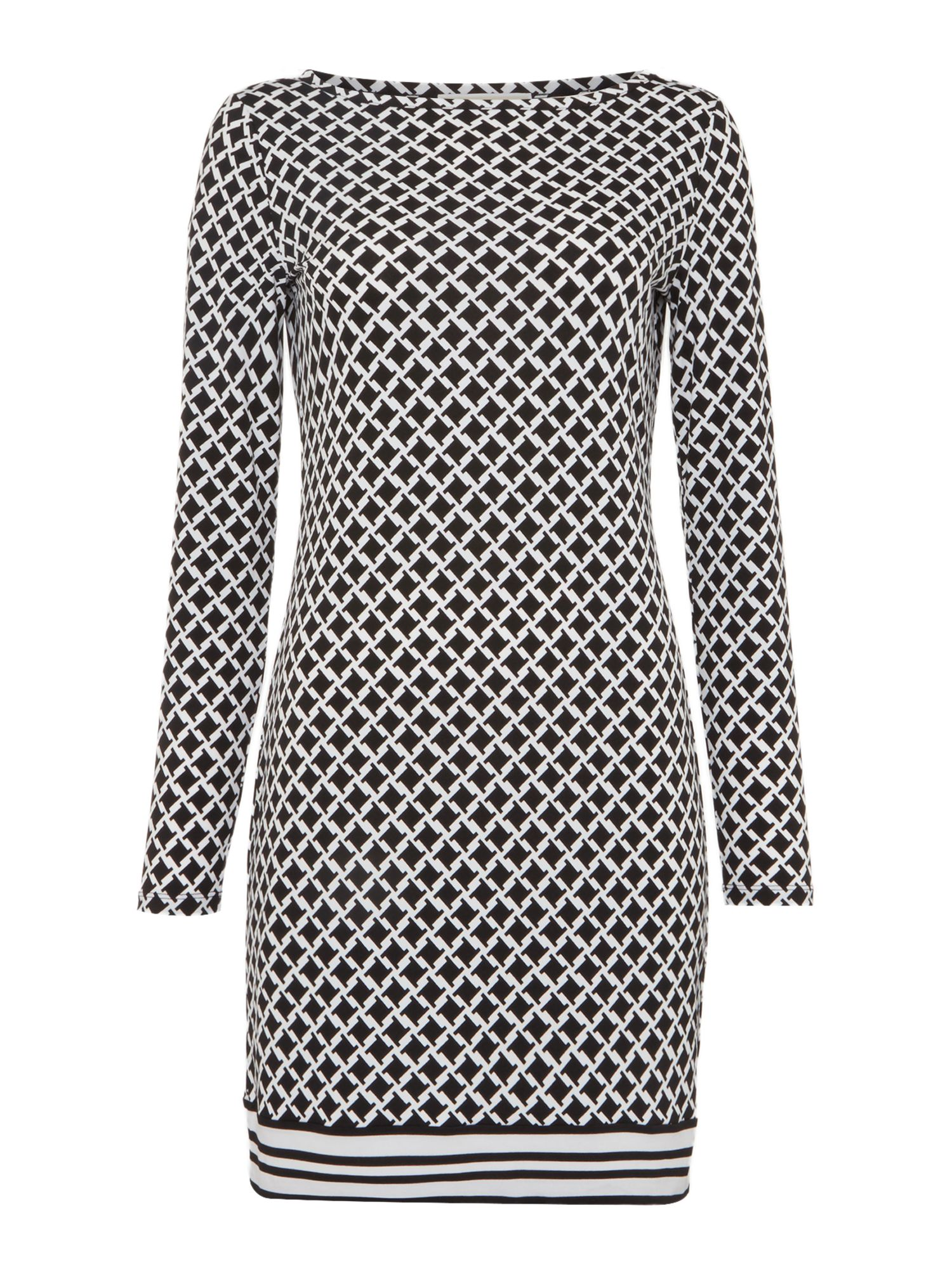 Michael Kors Long Sleeved Border Shift Dress, Black