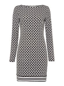 Michael Kors Long Sleeved Border Shift Dress