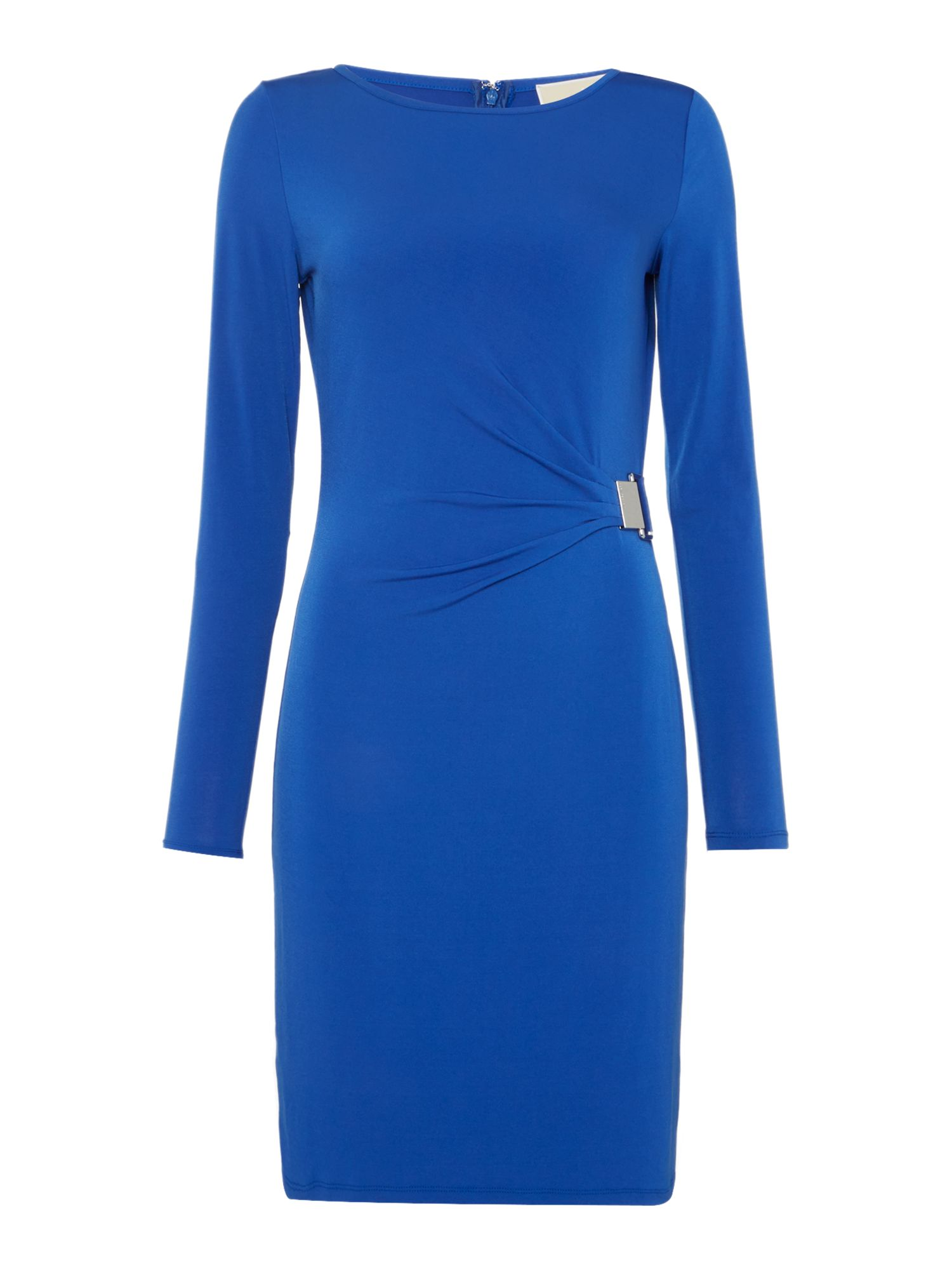 Michael Kors Long Sleeve Pleat Drape Dress, Royal Blue