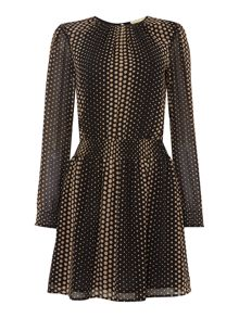 Michael Kors Long Sleeved Printed Fit and Flare Dress
