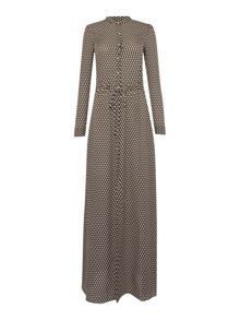 Michael Kors Long Sleeve Drawstring Maxi Dress