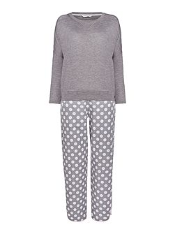 Spot pant with knitted top pyjama set