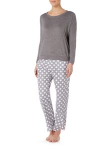 Cyberjammies Spot pant with knitted top pyjama set