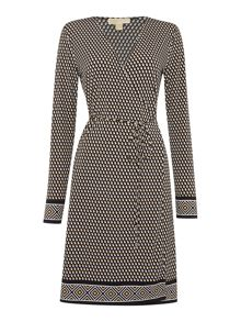Michael Kors Long Sleeve Border Wrap Dress