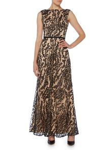 JS Collections Boat neck lace gown with cap sleeve