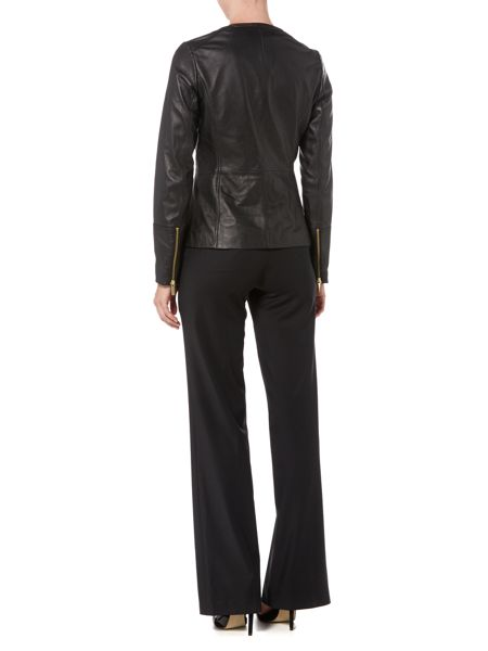Michael Kors Long Sleeve Zip Leather Jacket