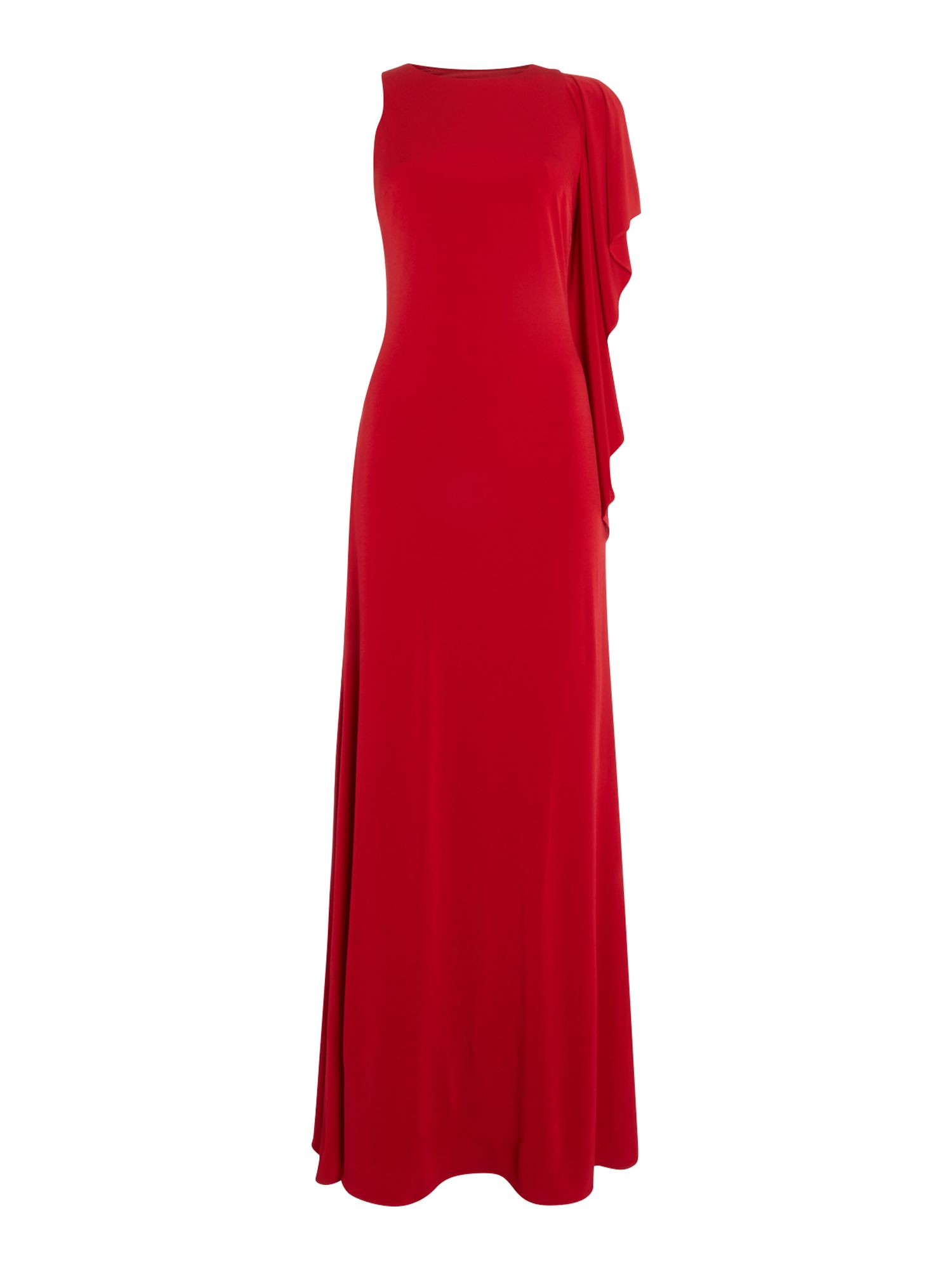 JS Collections Sleeveless crepe gown with side ruffle detail, Red