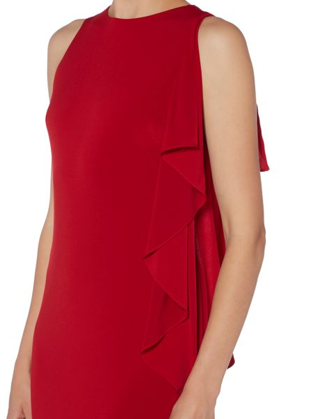 JS Collections Sleeveless crepe gown with side ruffle detail