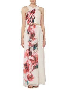 Little Mistress Crossover Print Maxi Dress