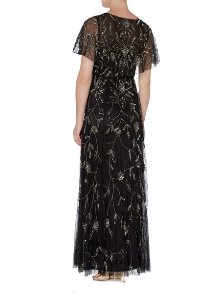 Shubette Floral Beaded gown with capre
