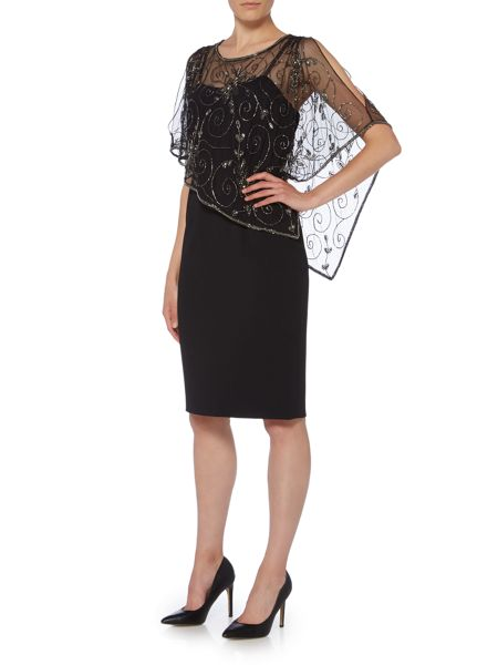 Adrianna Papell Crepe dress with floral beaded cape